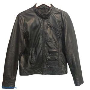 Black Rivet Leather Moto Jacket Medium Black Lined